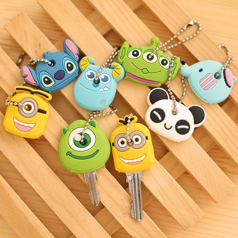 High quality free shipping Kawaii Cartoon Animal Silicone Key Caps Covers Keys Keychain Case Shell Novelty Item KCS()