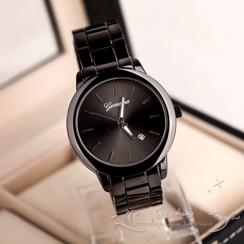 Hot Sale Fashion Dress Gold Rose Gold Geneva Quartz Wristwatch Wrist Watch for Women Men Full