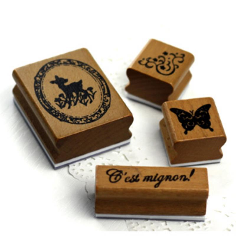 Living / office / funny / Fashion 4pcs DIY Wooden rubber stamps scrapbooking craft card making Stationery school supplies(China (Mainland))