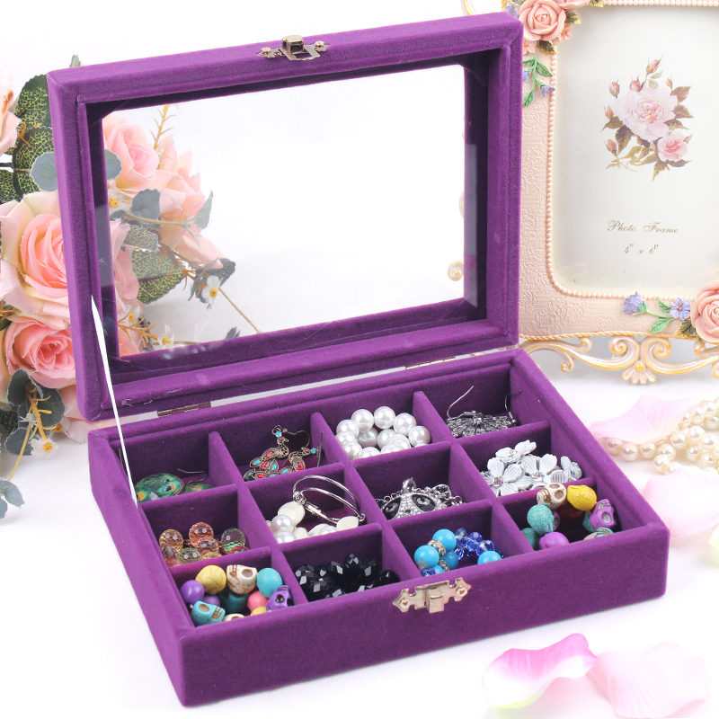 Purple Velvet Jewelry Storage Boxes Beads Carrying Case Bracelet Organizer Earring Cases Necklace Holder Box With Cover 20*15cm(China (Mainland))