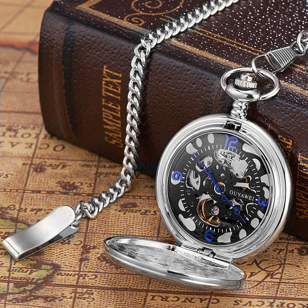 OYW Brand Hand Winding Mechanical Silver black Pocket Watch Men Vintage Skeleton Dial necklace pendant Male Chain Watches Gifts(China (Mainland))