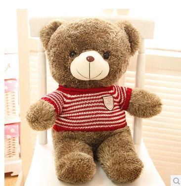 Stuffed animal Teddy bear red stripes cloth bear about 23 inch plush toy 60 cm bear throw pillow doll wb525(China (Mainland))