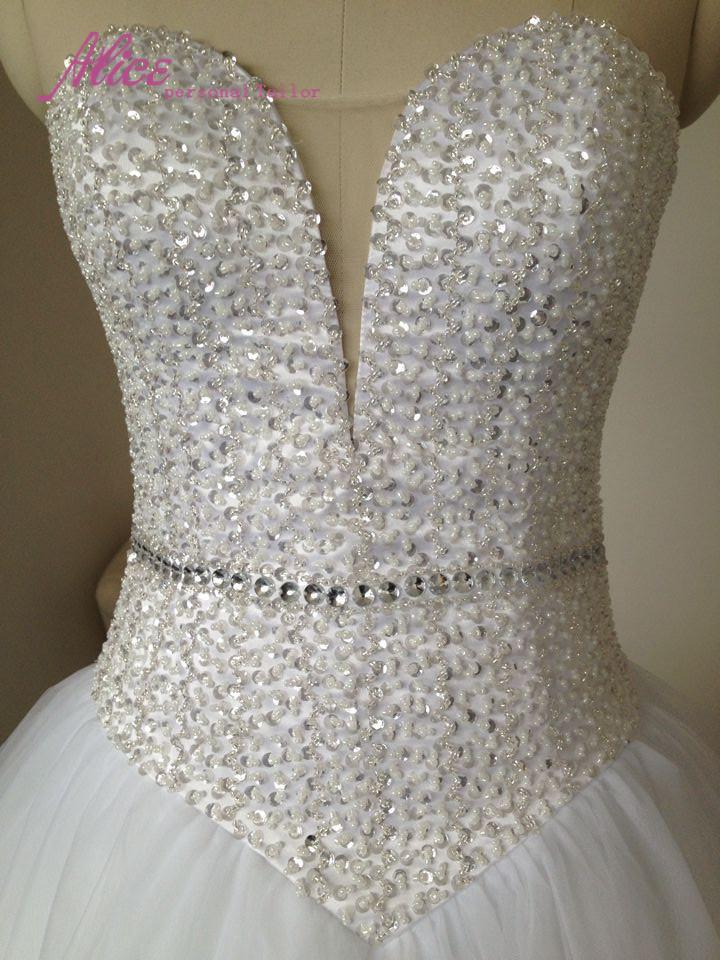 Длинные опухшие тюль бальное платье бисероплетение милая-образным вырезом свадебные платья 2016 Vestido noiva одеяние мантия-де-mariage белые платья