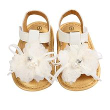New Summer Lovely White Flower Decor Baby Girls Sandals Soft Sole Princess Infant Shoes DH(China (Mainland))