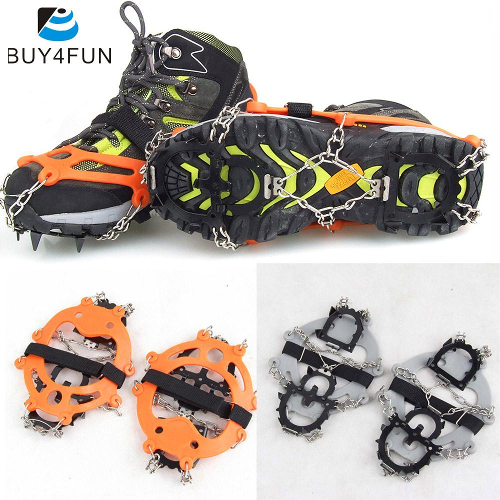 Outdoor Ski Ice Snow Hiking Climbing Colors Equipment 1 Pair 12 Teeth Crampons Claws Non-slip Shoes Cover Stainless Steel Chain(China (Mainland))