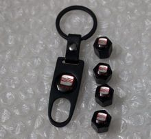 SEAT Black Plated Wheel Tyre Air Valve Dust Cover Caps With Key Ring Spanner Set