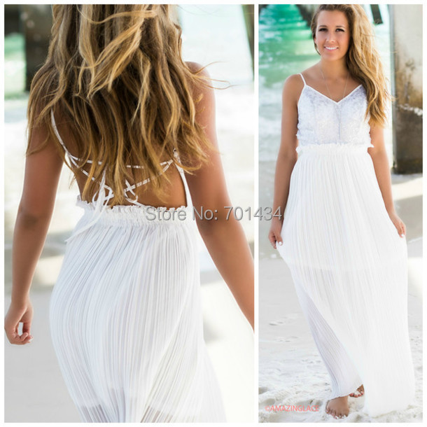 Summer dresses pictures long white lace summer dress for Flowing beach wedding dresses