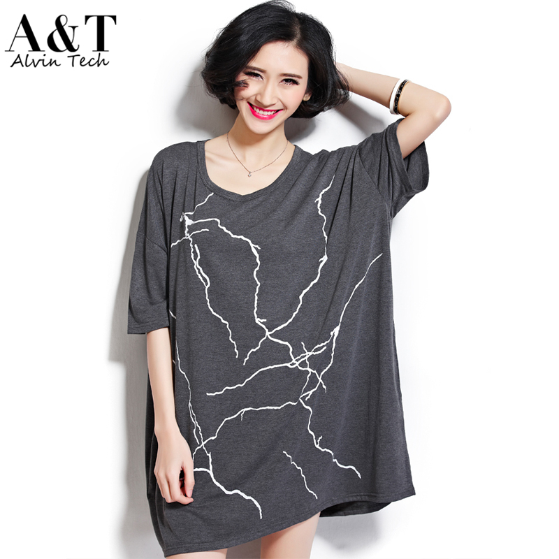 New Women 2016 Summer Super Ultra Large Ovesized Plus Size Knitting Cotton Abstract Prints Loose T-shirts Long Casual Tee Shirts(China (Mainland))