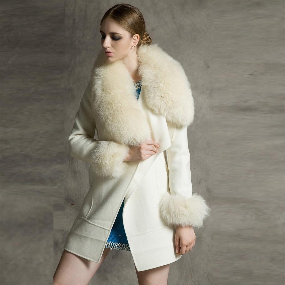 Woman Clothes 2015 Autumn Winter Coat Big Faux Fox Fur Collar Elegant Long Outwear Sleeve Warm Wool WWC175