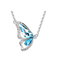 Butterfly Wing Pendant Crystal Necklace Jewel Alloy Necklace Blue For Women