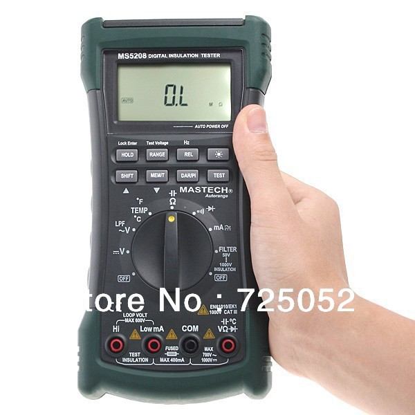 MASTECH MS5208 Multifunction Insulation True RMS Multimeter Resistance Meter Tester w/ 1 yr warranty 1000V