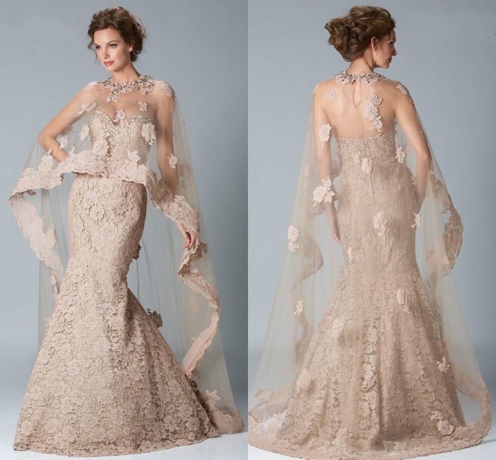 champagne mermaid lace evening dresses cape robe de soiree. Black Bedroom Furniture Sets. Home Design Ideas