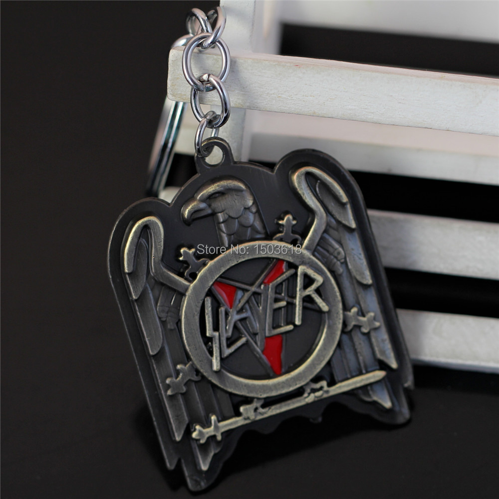 Hot Speed metal band Slayer alloy Key chains wholesale eagle symble men jewelry pendants keychain free shipping(China (Mainland))
