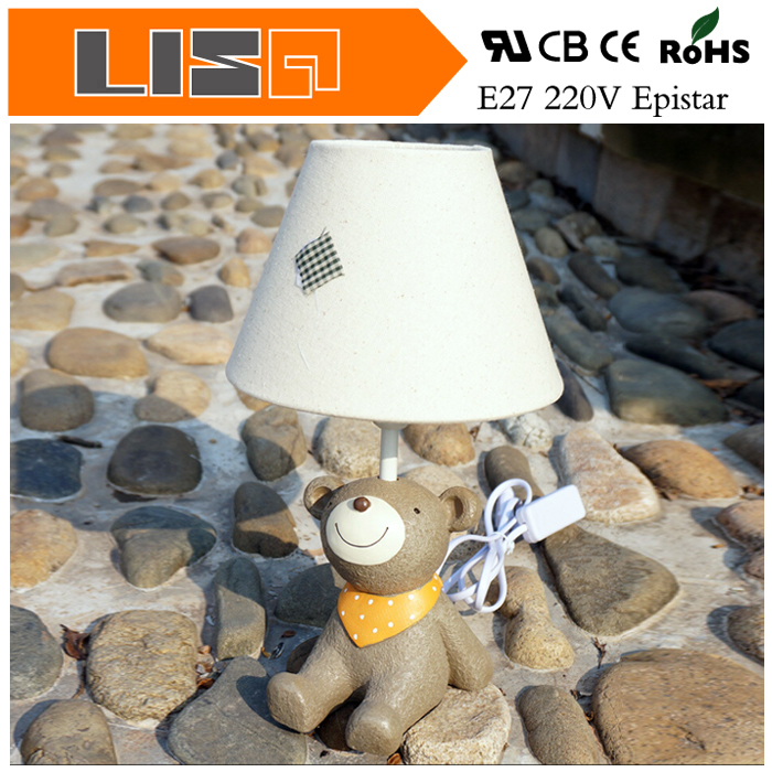 Novelty Baby Bear Style Fabric Lampshade Led Table Lamp Light Night Light Nordic Modern Children Bedside Decoration Lighting(China (Mainland))