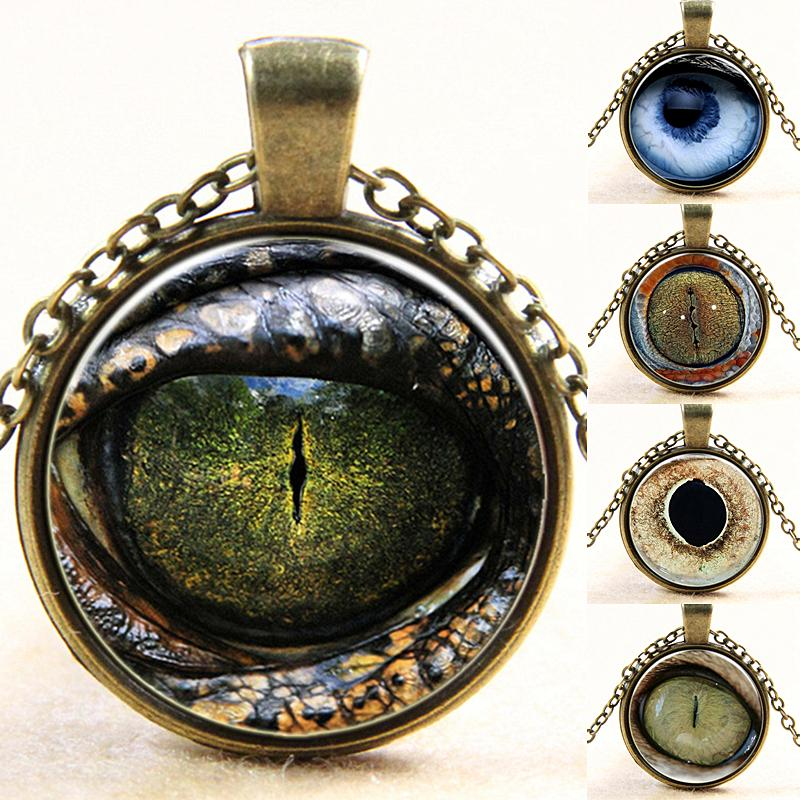 Free Shipping 2015 Silver Plated 25mm Pendant Necklaces Statement Chains Women Jewelry 3D Printed Realistic Dragon Eye Collar(China (Mainland))