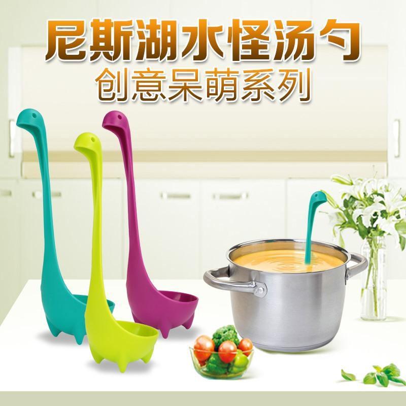 Creative Nessie Dinosaur Long Handle Soup Spoon Cute Monster Porridge Spoons Dinnerware Kitchen Cooking Tools(China (Mainland))