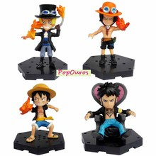 New Arrival Classic Anime One Piece Action Figures PVC Luffy/Ace/Law /Sabo 4pcs/lot For Kids Gift