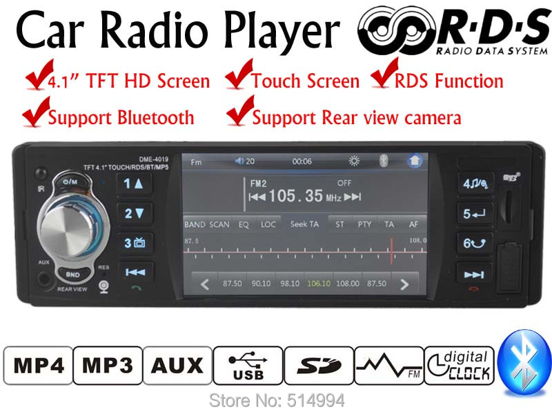New 1 Din 4.1 inch TFT Touch screen car radio player support RDS BLUETOOTH hands free 1080P movie rear view camera car audio <br>