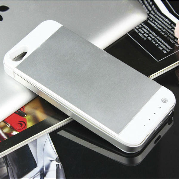 Silver 3500mAh Backup Battery Emergency Charger Case Power Bank Cover for Iphone 5 Iphone 5S(China (Mainland))