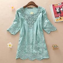 Buy Women's Fashion Blouse 2017 Summer Half Sleeve Lace Women Blouses Embroidery Shirts Casual Women Tops Plus size women Clothing for $15.68 in AliExpress store
