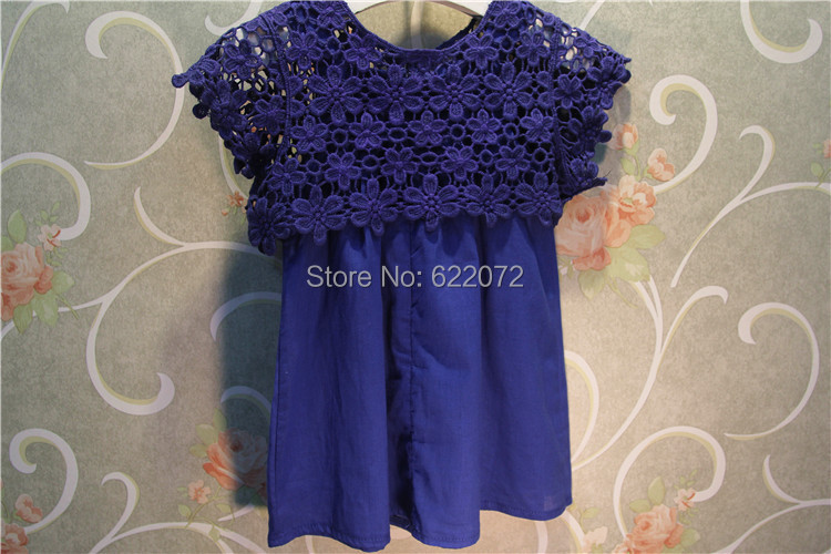2015 summer casual girls dress lace trim kids white/blue embroidered cotton soft clothing vestido - Baby Mia Kids' Garments store