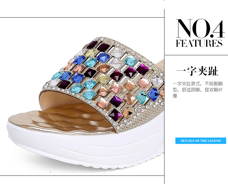 Platform Slippers Colorful Diamond Cool Women Shoes Summer Platform Wedges Shoes Chaussure Femme Talon Sexy Gladiator Sandals