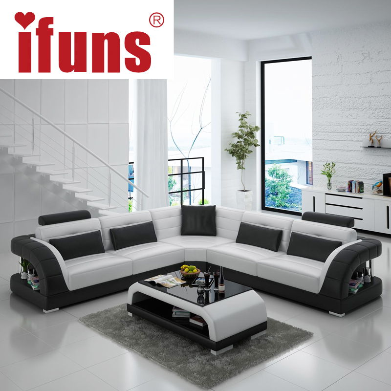 IFUNS China export modern design l shape sectional sofa set living room furniture corner chaise top grain italian leather (fr)(China (Mainland))
