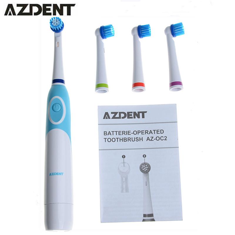 1 Conjunto AZDENT Substituição escova de Dentes Elétrica com 4 Cabeças de Escova de Dente Dentes Branqueamento Dente Higiene Oral de Rotação da escova de Dente