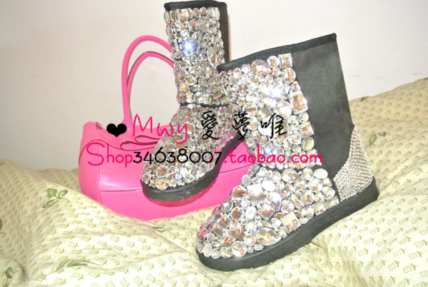 Mwy advanced rhinestone big gem snow boots cotton boots all-match black bling