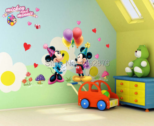 Cartoon Mickey and Minnie Mouse Decor Kids Baby Nursery Decals Wall Sticker the little prince decor(China (Mainland))
