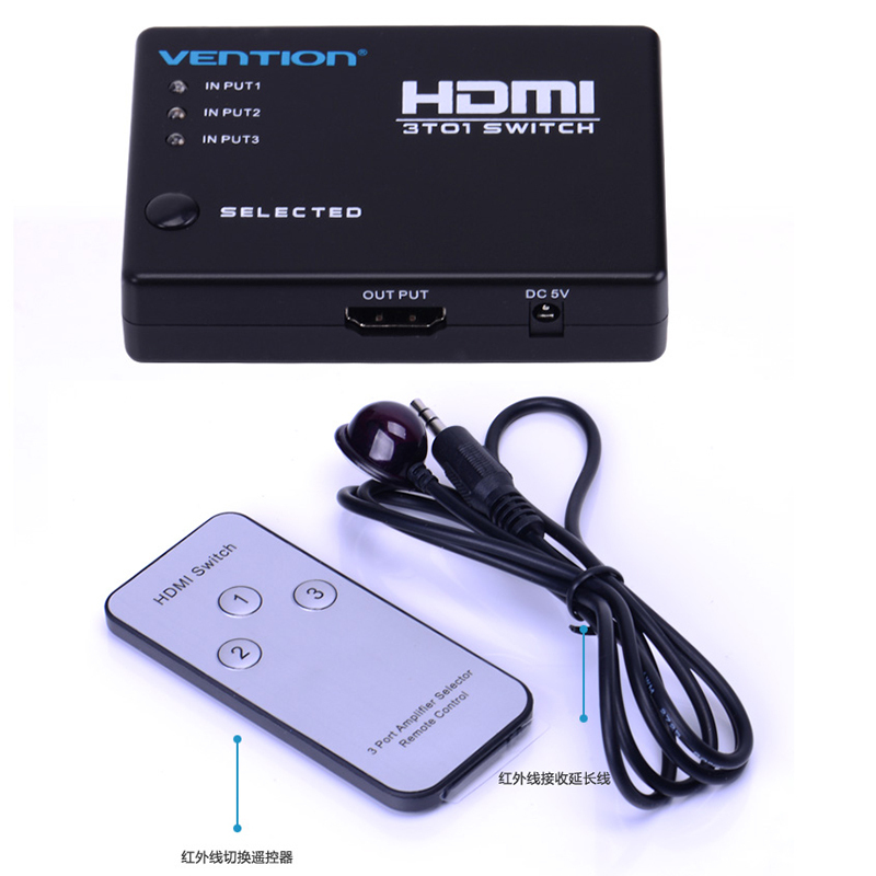 3 In 1 Out HDMI Switch 3 Port Hdmi Splitter 1080P Built-in Infrared Switcher With IR Remote for Audio HDTV PS3 DVD(China (Mainland))