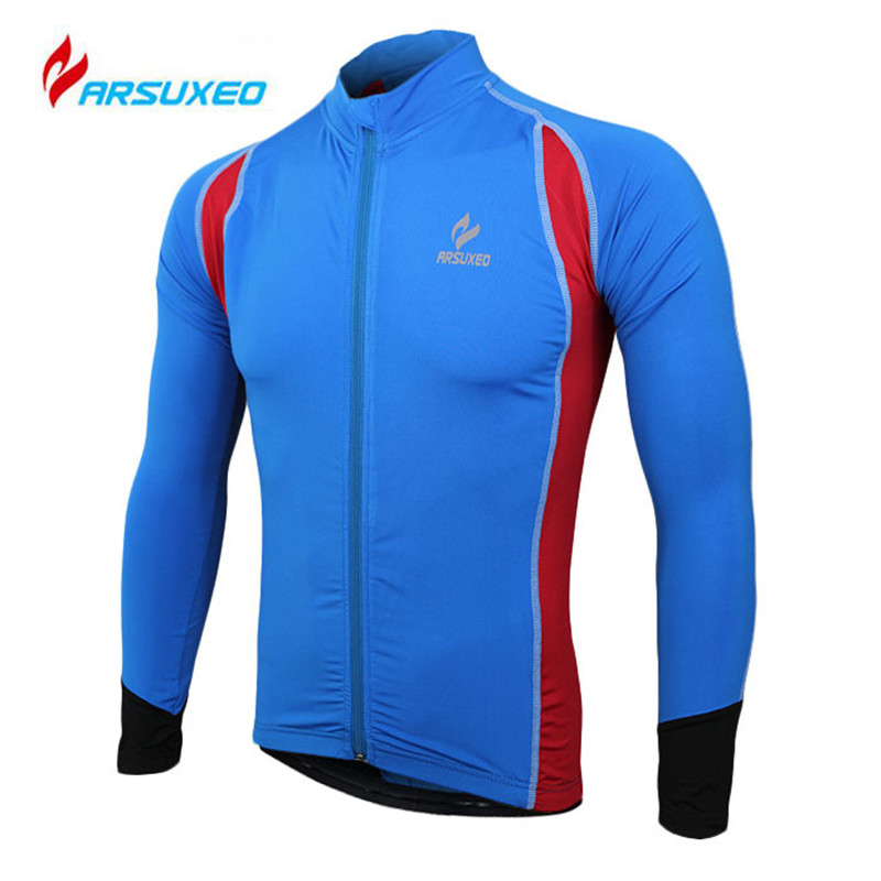 ARSUXEO Men's Breathable Outdoor Cycling Jersey Sporwear Bicycle Bike Running Quick Dry Clothing Long Sleeve Sports Jersey Tops