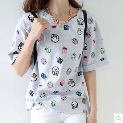 2014 han edition short-sleeved summer loose women T-shirt printing large size ladies' joker render unlined upper garment coat - shuijingling store