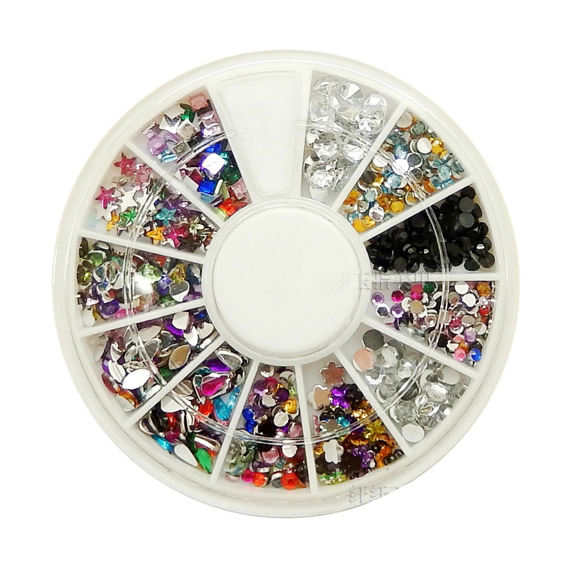 12 Different Styles Glitter Mixed Color Rhinestone Wheel Mixed Shapes Acrylic Diamond For 3D Nail Art Decoration(China (Mainland))