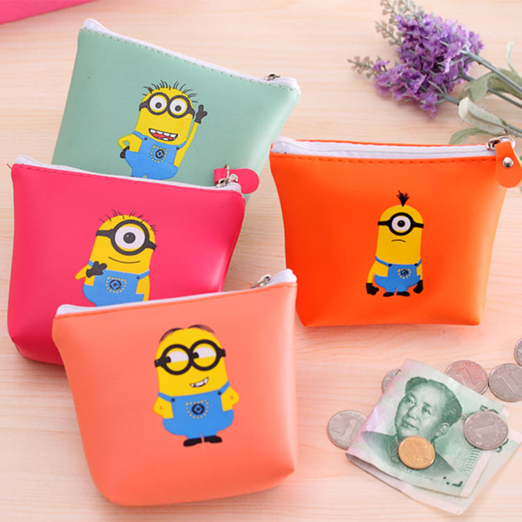 3Pcs/Lot Best Deal Cartoon Minions Coin Case 4 Colors Waterproof PU Leather Storage Cosmetic Bag Sundries Organizer(China (Mainland))