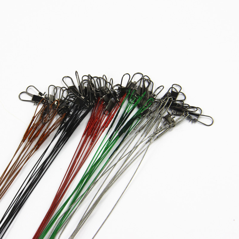 10Pcs Fly Fishing lead Line Connector Leader Wire lead line Assortment Sleeve and Swivel Stainless Steel Rolling Swivels 12-28cm(China (Mainland))