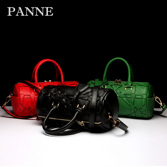 PANNE 2016 New Woman Bag Genuine Leather Barrel Shaped Handbag Fashion Women Shoulder Bags Female Handbags - PAN BAG store
