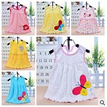Free Shipping Retail Baby Girls Dress Infant 100% Cotton Clothing Sleeveless Printed Embroidery Dress Summer Clothes(China (Mainland))