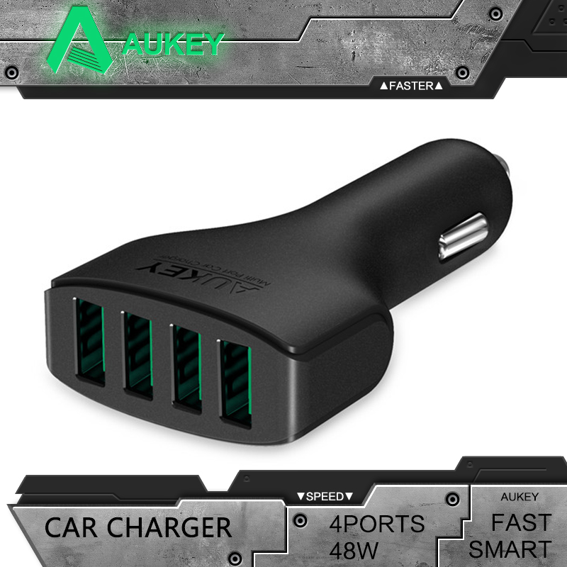 Aukey 48W/9.6A DC 12/24V 4 Ports USB Car Charger Adapter Apple iPhone 5 6 plus iPad Android Samsung Sony HTC Tablet PC - aukey official store