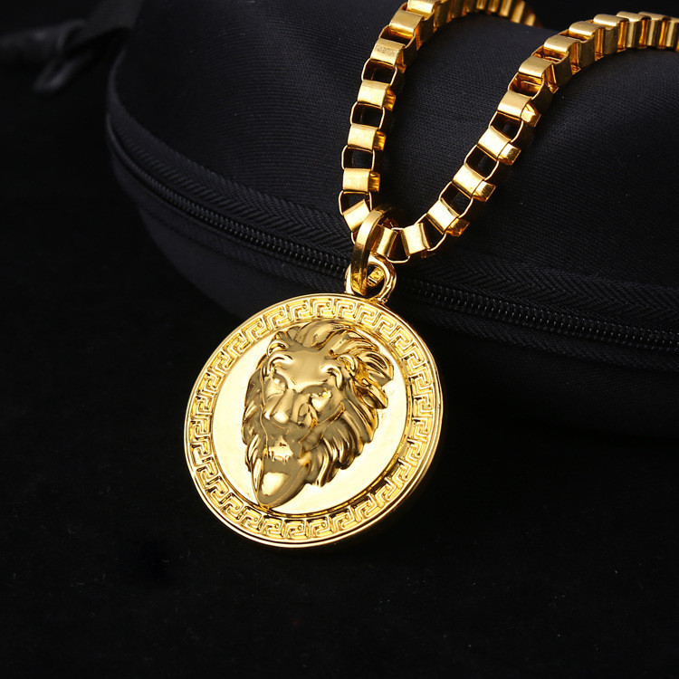 24K Yellow Gold compass necklace Hip hop jewelry Vintage head lion head necklace(China (Mainland))