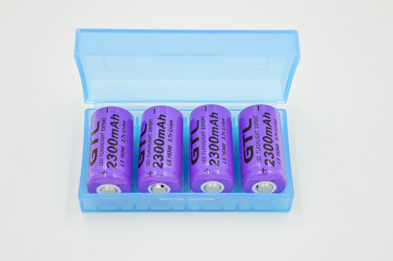 4pcs/lot 16340 CR123A 3.7v 2300mAh Rechargeable Li-ion Battery purple For LED Flashlight +Battery Storage Boxes Free shipping(China (Mainland))