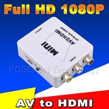 2016 min RCA AV Male to HDMI Female Converter Adapter Full HD 1080P Mini Composite CVBS to HDMI AV2HDMI Audio Converter(China (Mainland))