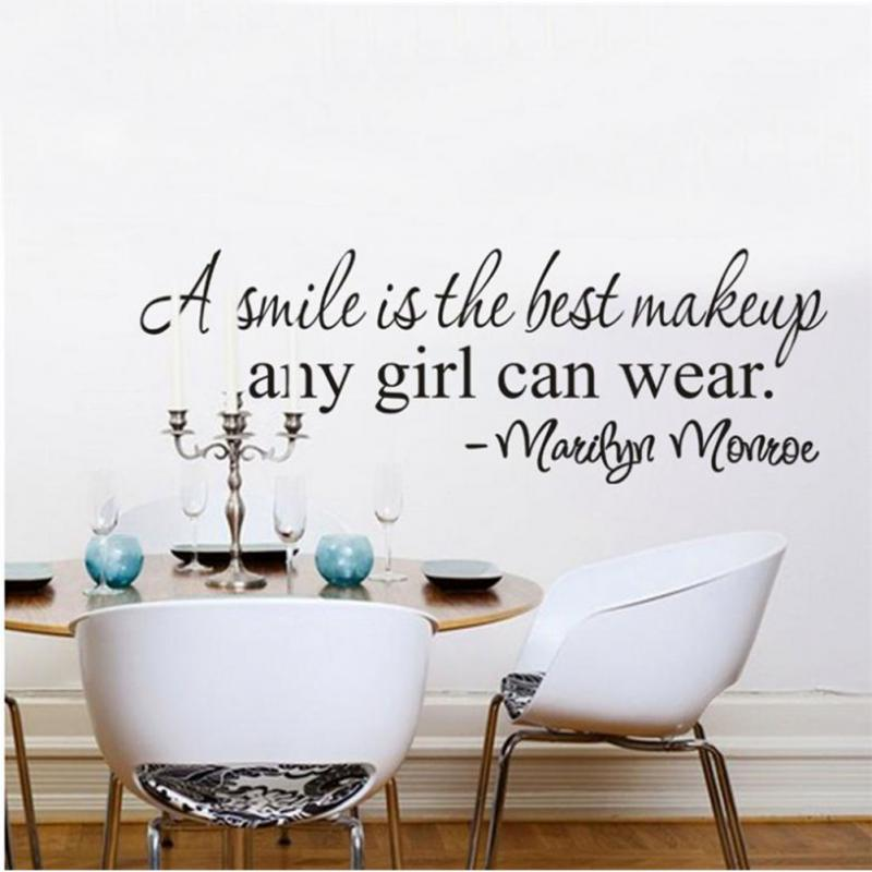 60*23cm Smile is the best makeup any girl can wear Wall sticker good decoration for walls, bedroom, bedside Accessory Wholesale(China (Mainland))