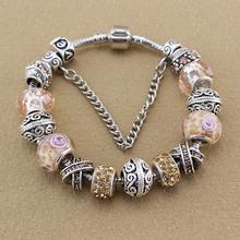 2016 Fashion Silver Plated Bracelets Bangles Crystal Murano Beads Charm Bracelets For Women DIY Vintage Bead Pandoras Bracelets(China (Mainland))