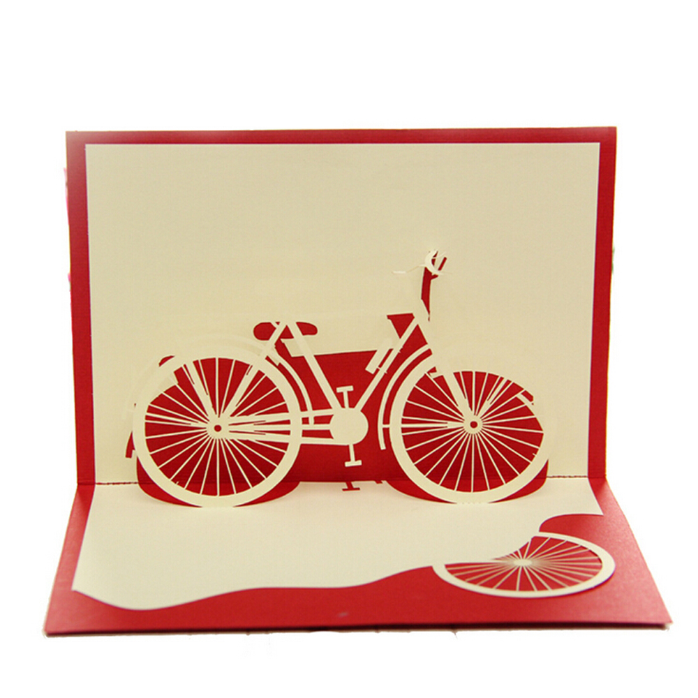 (10 pieces/lot)Wholesale New Arrival 3D Handmade Pop up Red Bicycle Greeting Card For Birthday Gift Bike Wish Card Free Shipping<br><br>Aliexpress