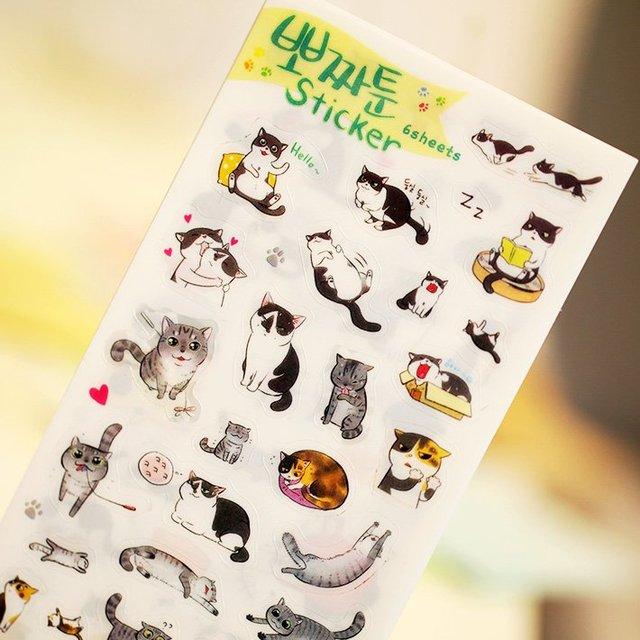 6 шт./компл. новинка кошки мультфильм животных наклейка пвх мультфильм наклейки дневник наклейки записки украшения пвх канцелярские наклейки