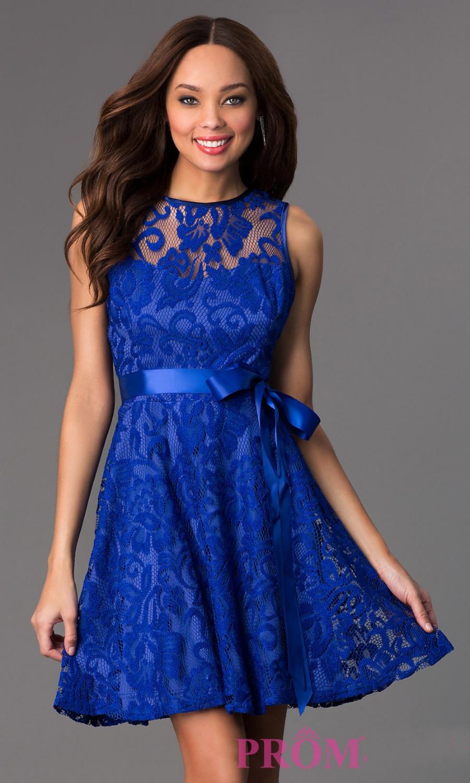 Blue Black White Lace Short Evening Dresses 2016 New Sleeveless Long ...