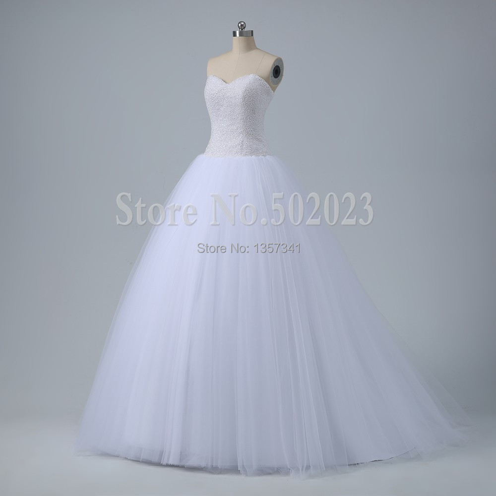 Buy actual image pearl beaded sweetheart for White wedding dresses with long trains