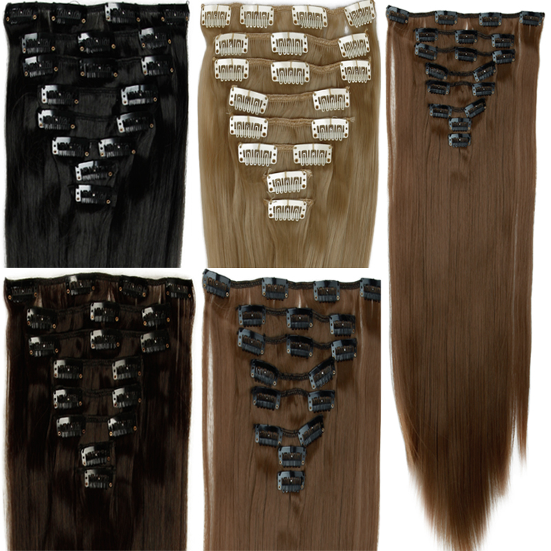 """Гаджет  23"""" Women Long Straight Clip In On 8 Piece Full Head Hair Extension 8 Color None Волосы и аксессуары"""