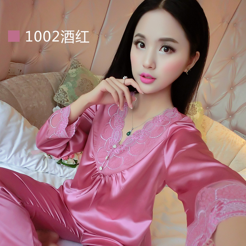 2016 Spring Summer Autumn Women Silk Pajamas Sets of Sleepshirt & Sleep Shorts Lady v neck Nightdress Sleapwear high Quality(China (Mainland))